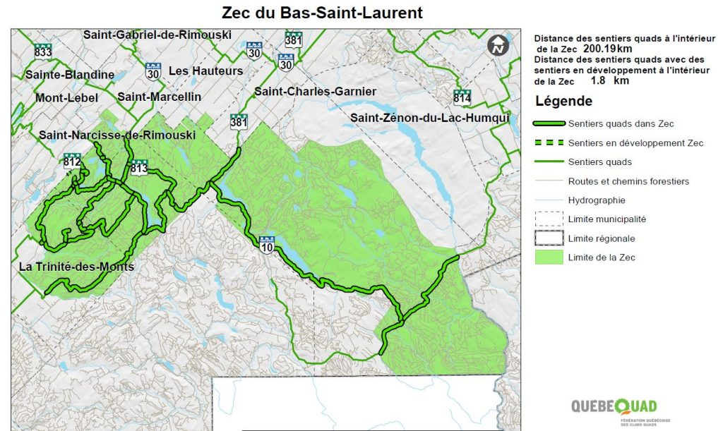 Carte Quad - Zec Bas Saint-Laurent